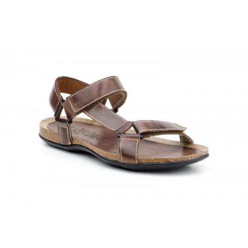 Men's Leather Sandals Cross Strap Brown