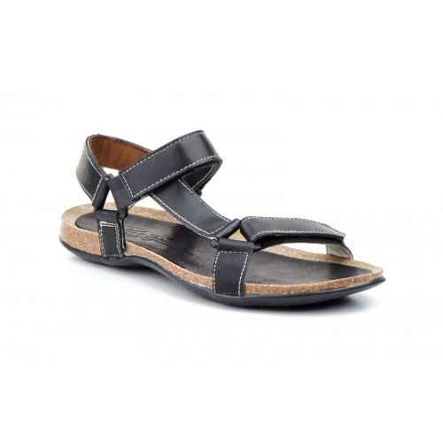 Men's Leather Sandals Cross Strap Black
