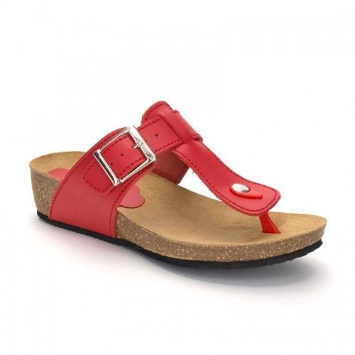 Sandalias Cuña Mujer Piel Rojo Comodisímas