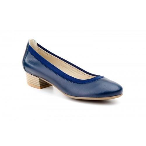 Zapato Salón Mujer Piel Marino Con Elásticos