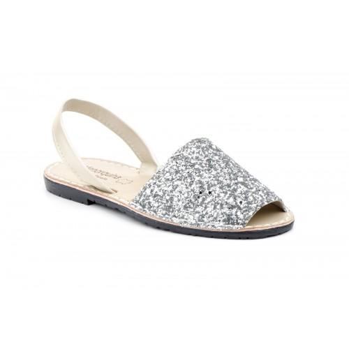 Avarca Menorquina Ibicenca Mujer Glitter Plata