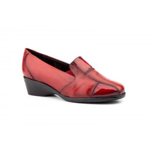 Zapatos Comodón Mujer Piel Rojo Burdeos