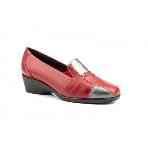 Zapatos Comodón Mujer Piel Rojo Plata