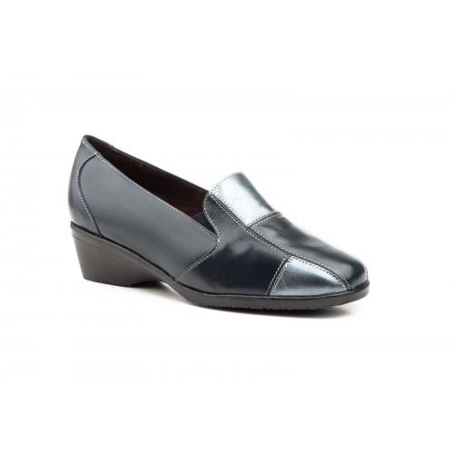 Zapatos Comodón  Mujer Piel Marino Plata