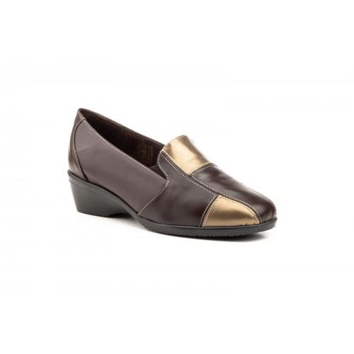 Zapatos Comodón Mujer Piel Bronce