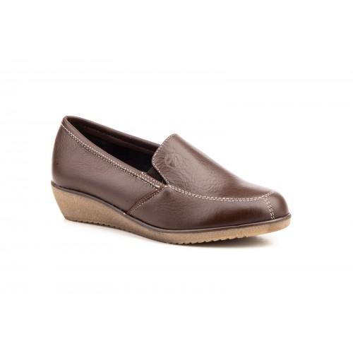 Zapatos Cuña Mujer Piel Marrón