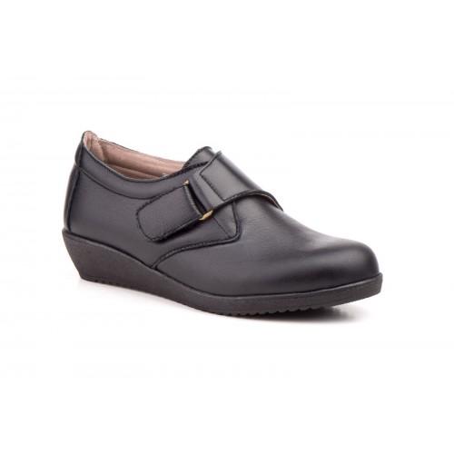 Zapatos Cuña Mujer Hebilla Piel Negro