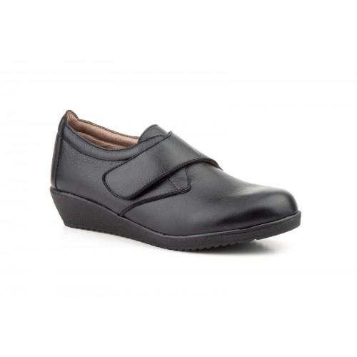 Zapatos Cuña Mujer Velcro Piel Negro