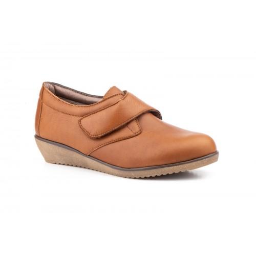 Zapatos Cuña  Mujer Velcro Piel Cuero