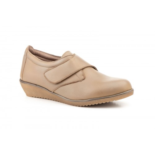 Zapatos Cuña  Mujer Velcro Piel Taupe