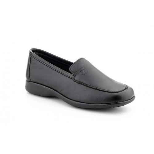 Zapatos Mocasines Mujer Piel Pala Cosida Negro