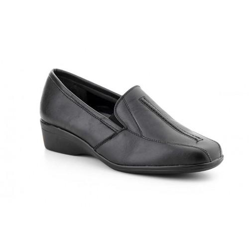 Zapatos  Mujer Piel Bordado Negro
