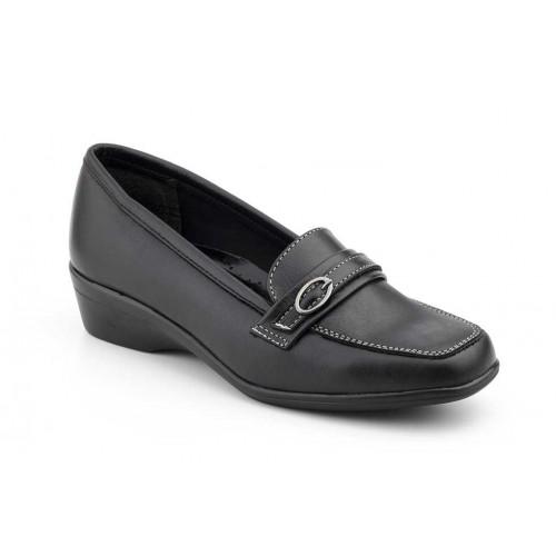 Zapatos Mocasin  Mujer Piel Hebilla Negro