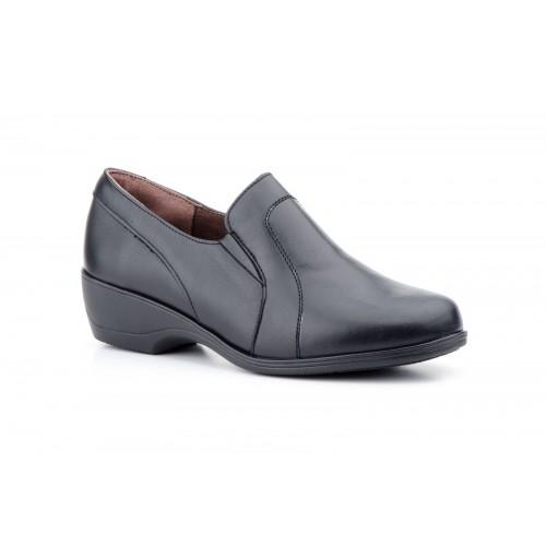 Zapatos  Mujer Piel Costuras Negro