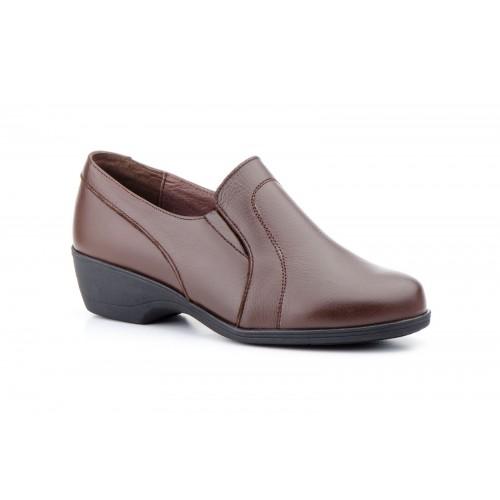 Zapatos Mujer Piel Costuras Marrón