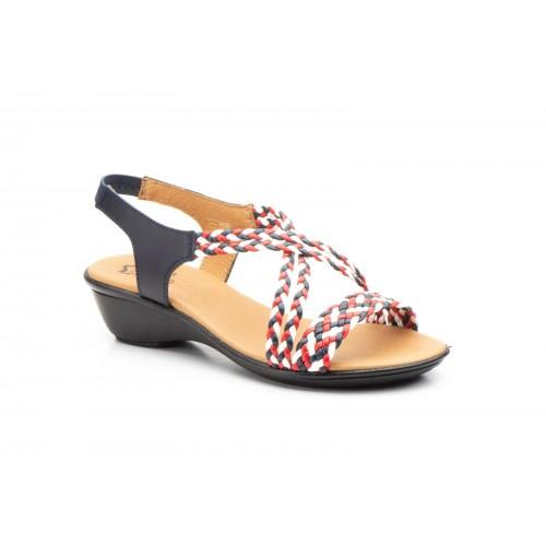 Sandalia Trenzada Mujer Piel Tricolor Muy Confortable