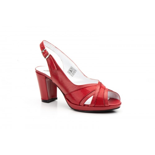 Sandalias Mujer Piel Rojo