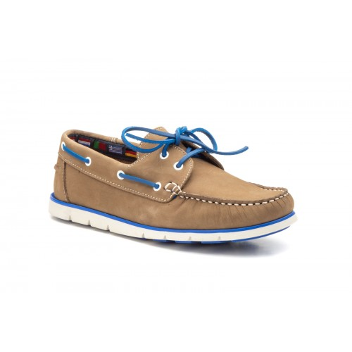 Nautical Shoes For Men With Laces Nubuck Leather  Taupe