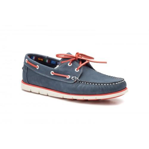 Nautical Shoes Men With Laces Nobuck Blue Marine