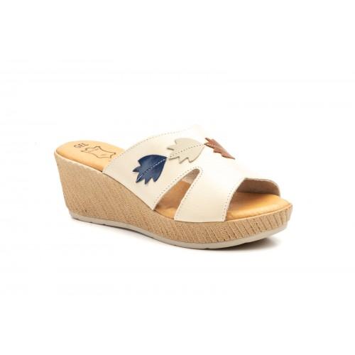 Women White Leather Wedge Sandal