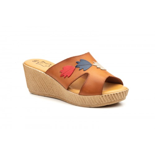 Women  Leather Wedge Sandal In Natural Color