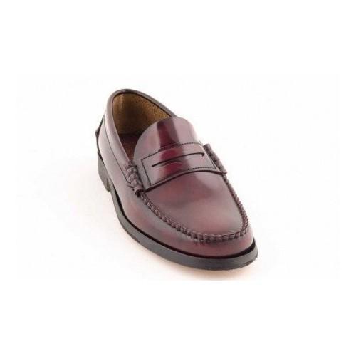 Zapato Castellano Burdeos Suela De Cuero