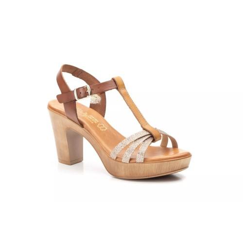Sandalias Mujer Piel Cuero Oro