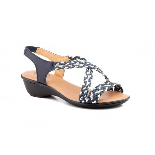 Women's Sandal Braided Marine and Silver Strap