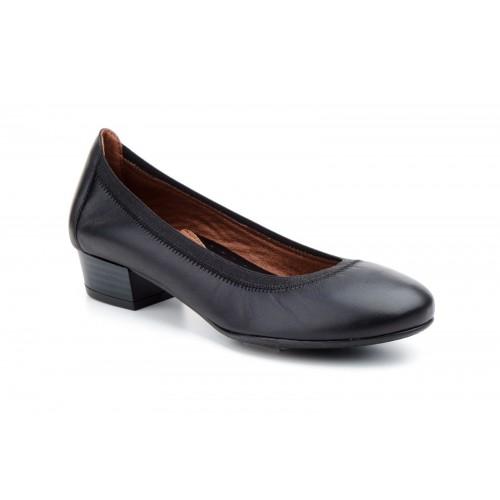 Zapato Salón Mujer Piel Negro Con Elásticos