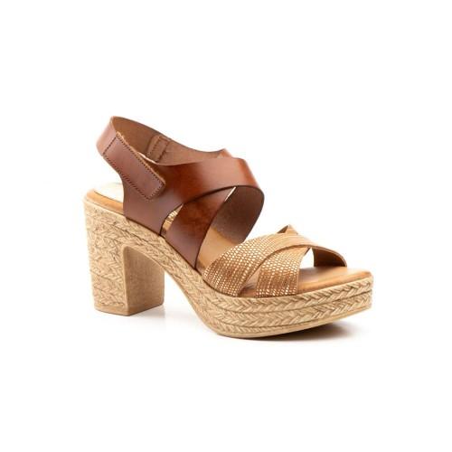 Sandalias Mujer Piel Cuero Tacón