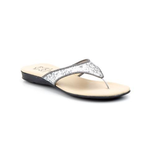 Sandalias Esclava Mujer Glitter Plata