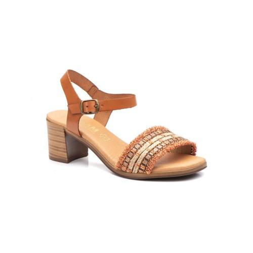 Sandalias Mujer Piel Cuero Oro Gel