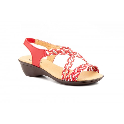 Women's Sandal Braided Strap Red and Silver