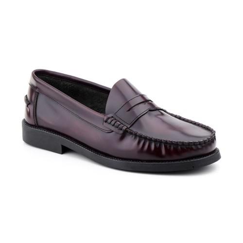 Zapatos Hombre Piel Burdeos Castellano