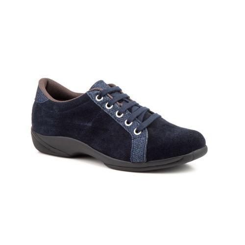 Zapatos Mujer Piel Serraje Marino Cordones