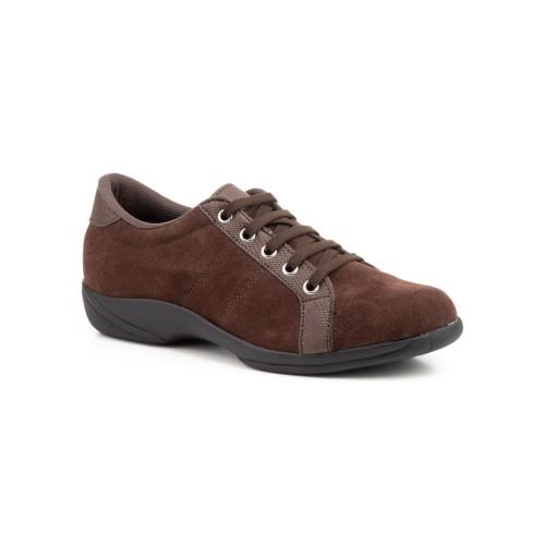 Zapatos Mujer Piel Serraje Marrón Cordones