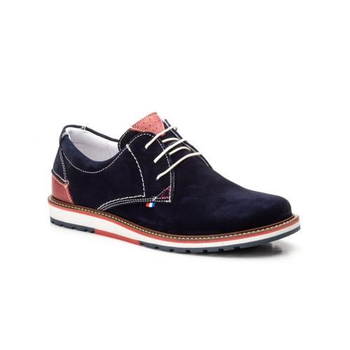 Zapatos Hombre Piel Serraje Marino