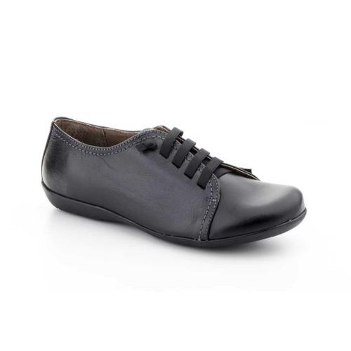 Zapatos Mujer Piel Negro Cuña Cordones