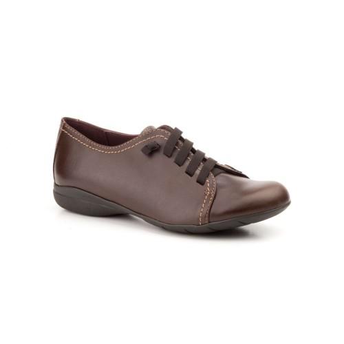Zapatos Mujer Piel Marrón Cuña Cordones