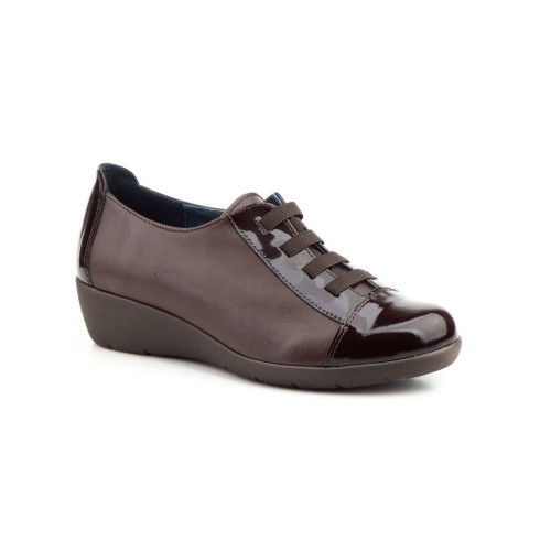 Zapatos Mujer Piel Marrón Elásticos