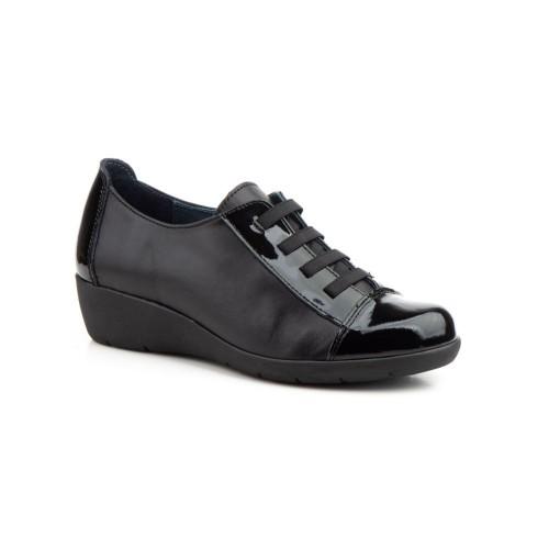 Zapatos Mujer Piel Negro Elásticos