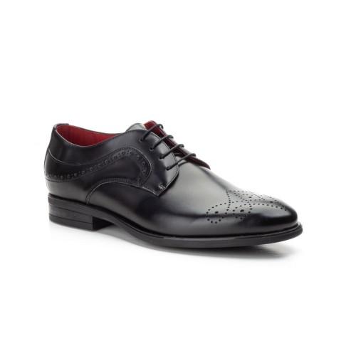 Zapatos Hombre Piel Negro Cordones Picado
