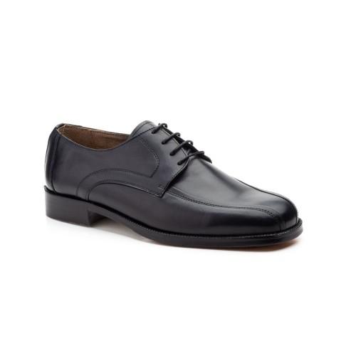 Zapatos Hombre Piel Negro Cordones Suela Cuero
