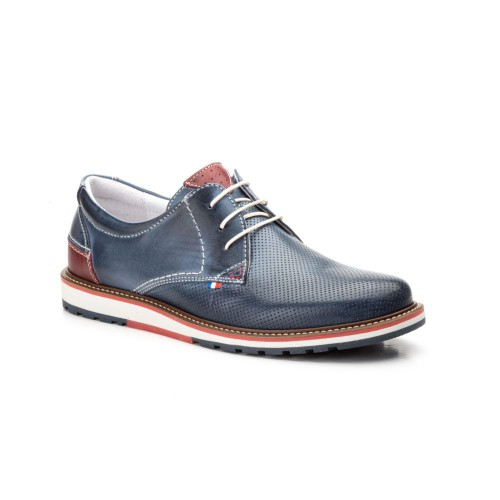 Zapatos Hombre Piel Jeans Picado Cordones