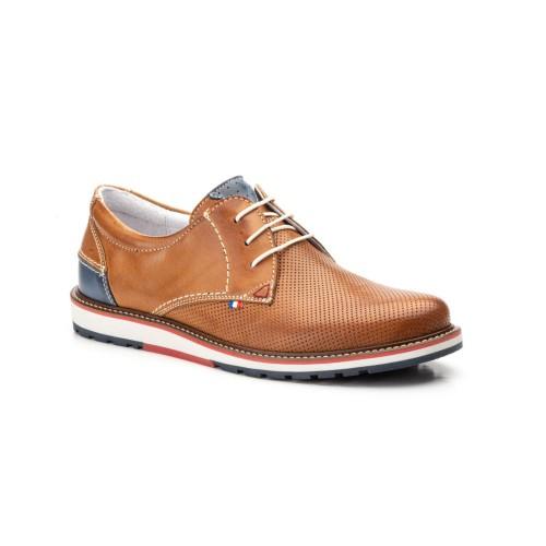Zapatos Hombre Piel Brandy Picado