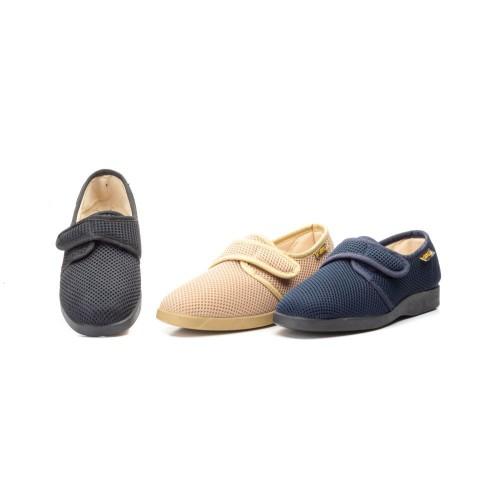 Zapatillas Mujer Velcro Negro Beige Marino