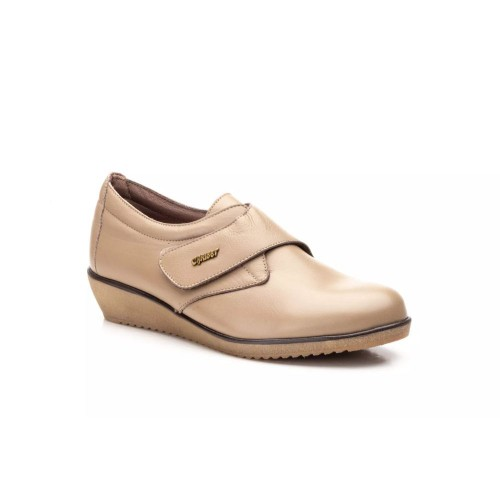 Zapatos Mujer Piel Taupe Velcro