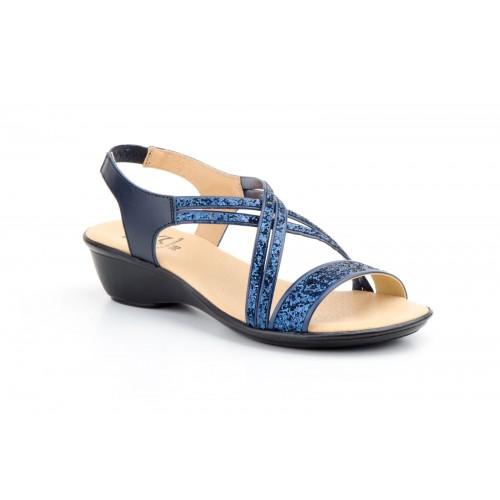 Woman Leather Sandal Glitter Marino