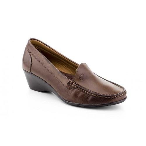 Zapato Mocasín Mujer Piel Marrón