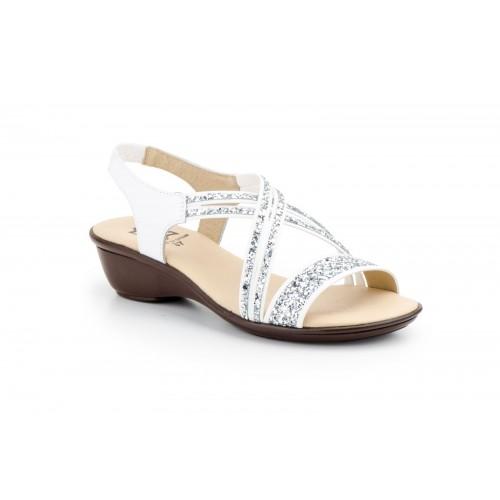 Sandalia Mujer Piel Glitter Blanco y Plata